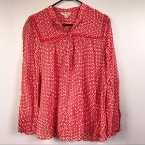 Lucky Brand Red 4 Leaf Clover Pattern Beaded Tunic